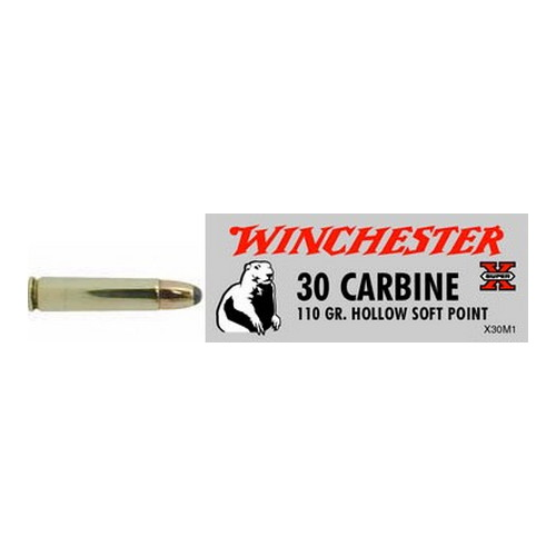 Winchester Ammo Winchester Ammo 30 Carbine 30 Carbine, 110 Gr, Super-X Hollow Soft Point, (Per 50) X30M1