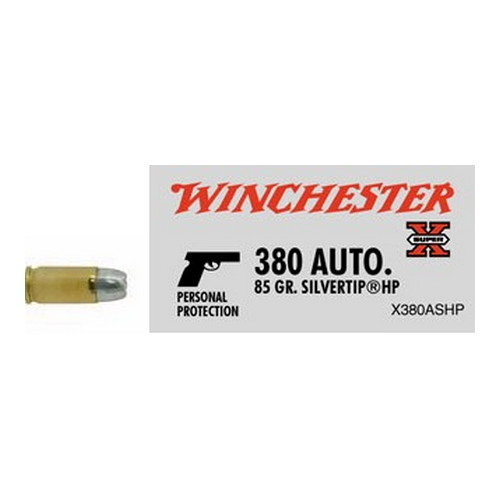 Winchester Ammo 380 Automatic 380 Auto, 85gr, Super-X Silvertip Hollow Point, (Per 50)