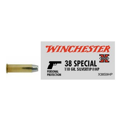 Winchester Ammo 38 Special 38 Special, 110gr, Super-X Silvertip Hollow Point, (Per 50)