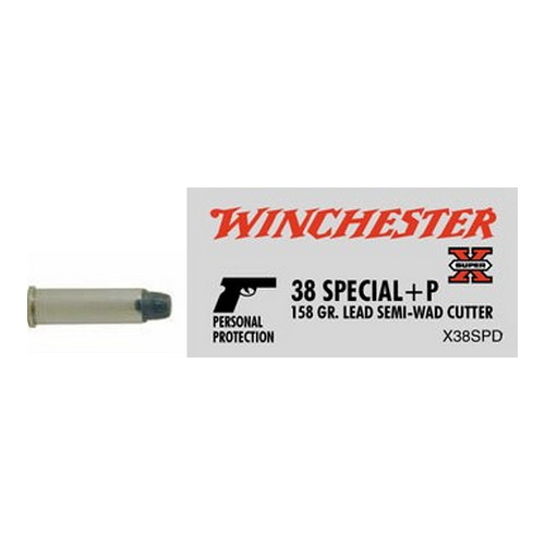 Winchester Ammo 38 Special 38 Special + P, 158gr, Super-X Lead Semi-Wad Cutter Hollow  Point, (Per 50)