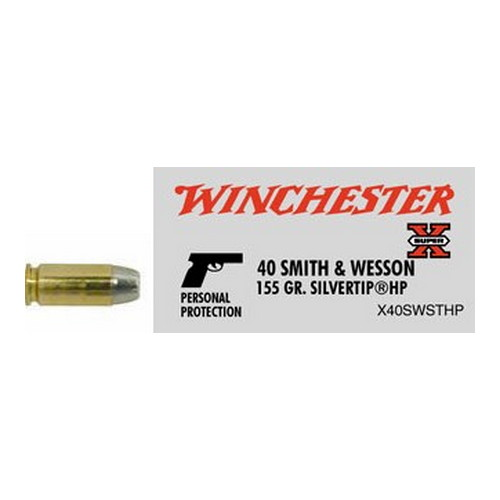 Winchester Ammo Winchester Ammo 40 Smith & Wesson 40 S&W, 155gr, Super-X Silvertip Hollow Point (Per 50) X40SWSTHP