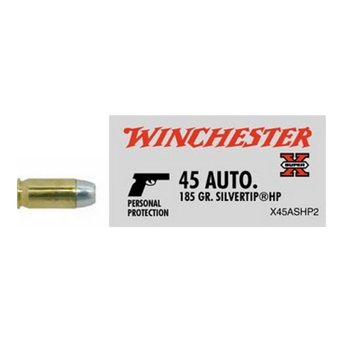 Winchester Ammo Winchester Ammo 45 ACP 185 gr Super-X Silvertip Hollow Point (Per 20) X45ASHP2 Ammo