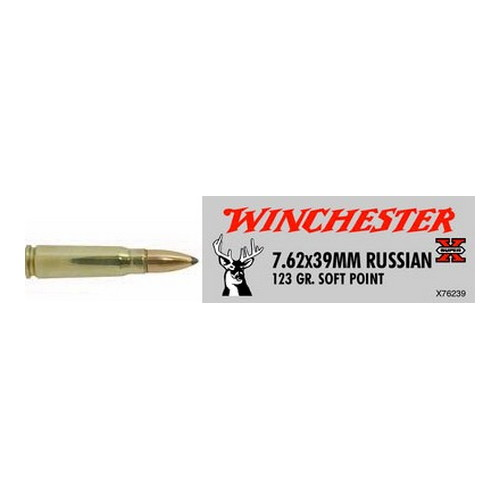 Winchester Ammo 7.62x39 Soviet 123gr, Super-X Soft Point, (Per 20)