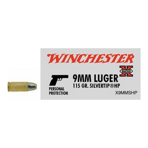 Winchester Ammo Winchester Ammo 9mm Luger 9mm, 115gr, Super-X Silvertip Hollow Point, (Per 50) X9MMSHP