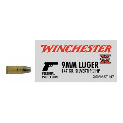 Winchester Ammo 9mm Luger 9mm, 147gr, Super-X Silvertip Hollow Point, (Per 50)