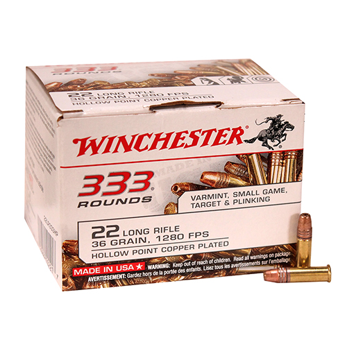 Winchester Ammo 22 Long Rifle 22 Long Rifle Bulk Copper Hollow Point (Per 333)