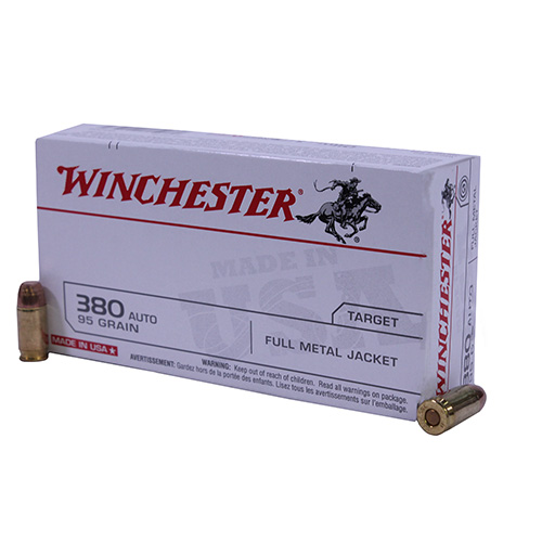 Winchester Ammo 380 Automatic 380 Auto, USA 95gr., Full Metal Jacket, (Per 50)