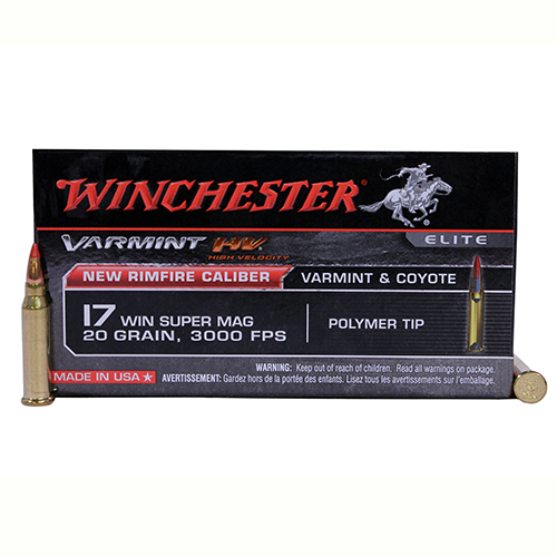 Winchester Ammo Winchester 17 WSM Ammunition Varmint HV, VMAX, 20 Gr (Per 50) S17W20