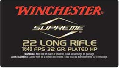 Winchester Ammo 22 Long Rifle 32gr Supreme Hollow Point Plated /50 S22LRUHV