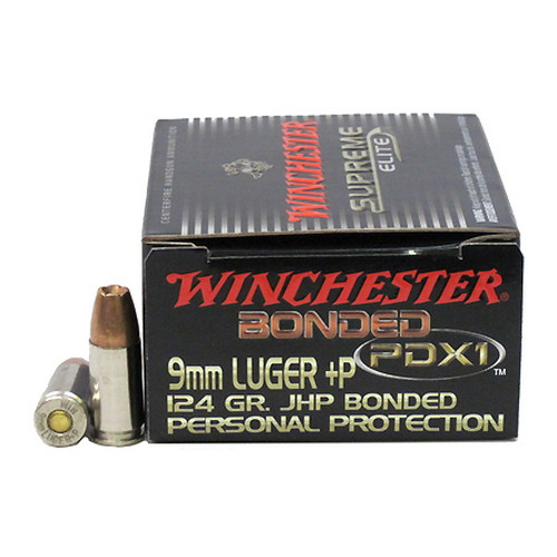 Winchester Ammo Winchester Ammo 9mm Luger 9mm Luger +P, 124 Gr PDX1/20 (Rounds per Box) S9MMPDB