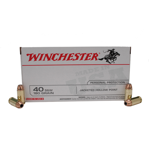 Winchester Ammo Winchester Ammo 40 Smith & Wesson 40 S&W, 180gr, USA Jacketed Hollow Point, (Per 50) USA40JHP