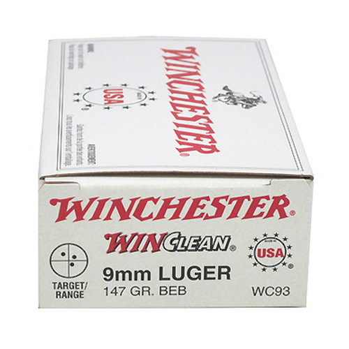 Winchester Ammo Winchester Ammo 9mm Luger 9mm Luger, 147gr, WinClean Brass Enclosed Base, (Per 50) WC93