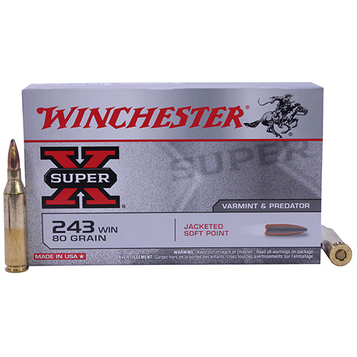 Winchester Ammo Winchester Ammo 243 Winchester 243 Win, 80grain, Super-X Pointed Soft Point, (Per 20) X2431